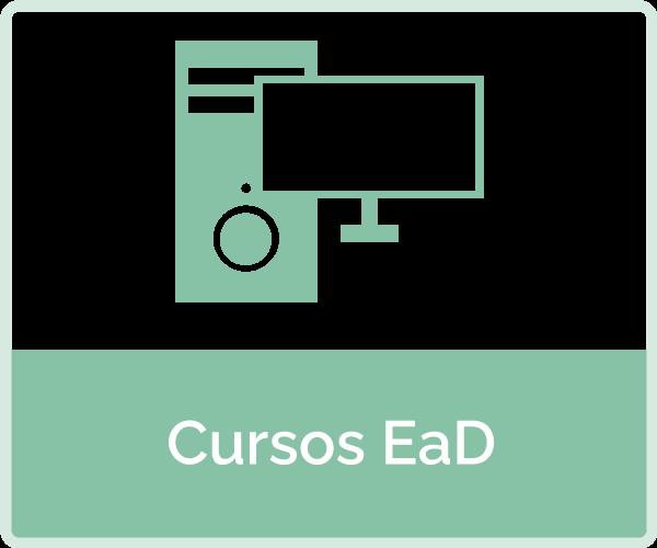 icone com apaarelho de audio de tela de computador - texto: cursos ead