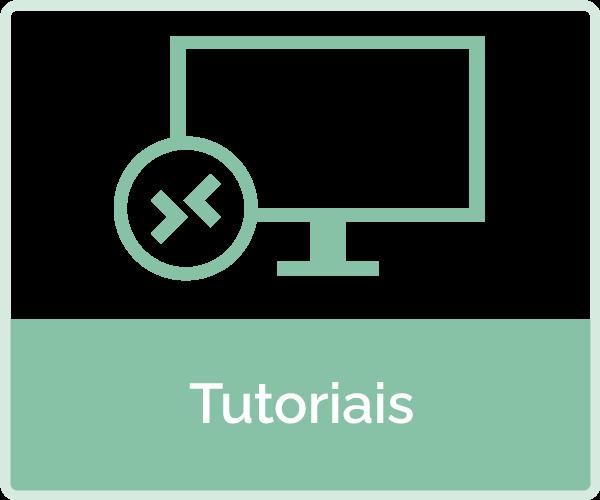 Icone: tela de computador com setas  - texto: Tutoriais