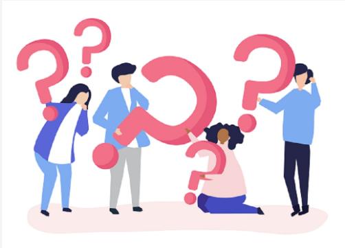 Quatro pessoas estilizadas no formato de figuras segurando pontos de interrogação, dando a ideia de que estão pensando sobre algo