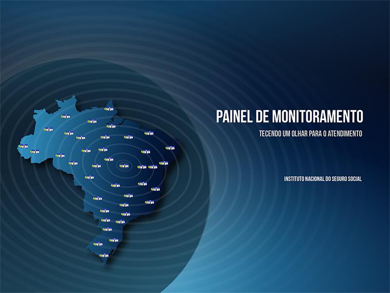 Imagem do globo terreste no tom azul. Dentro do globo está em destaque o mapa do Brasil. Do epicentro do mapa saem raios circulares. E em cada estado uma agência da previdência social. Logo abaixo a imagem conceito: tecendo a rede de atendimento