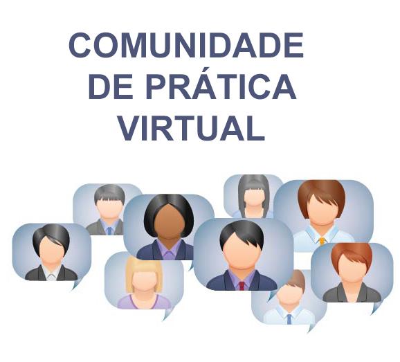 Quadrado de fundo cinz\a clado. Título na cor cinza escuro: Comunidade Prática Virtual. Abaixo, oito desenhos de pessoas em balões de diálogo na cor azul claro.